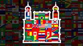 Imagem de várias bandeiras ao redor e dentro do contorno do Castelo da Fiocruz