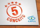 Logo da Capes com imagem de cinco estrlas associada ao número cinco do conceito da Capes