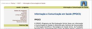 Imagem da área de Informação e Comunicação em Saúde no SIGA